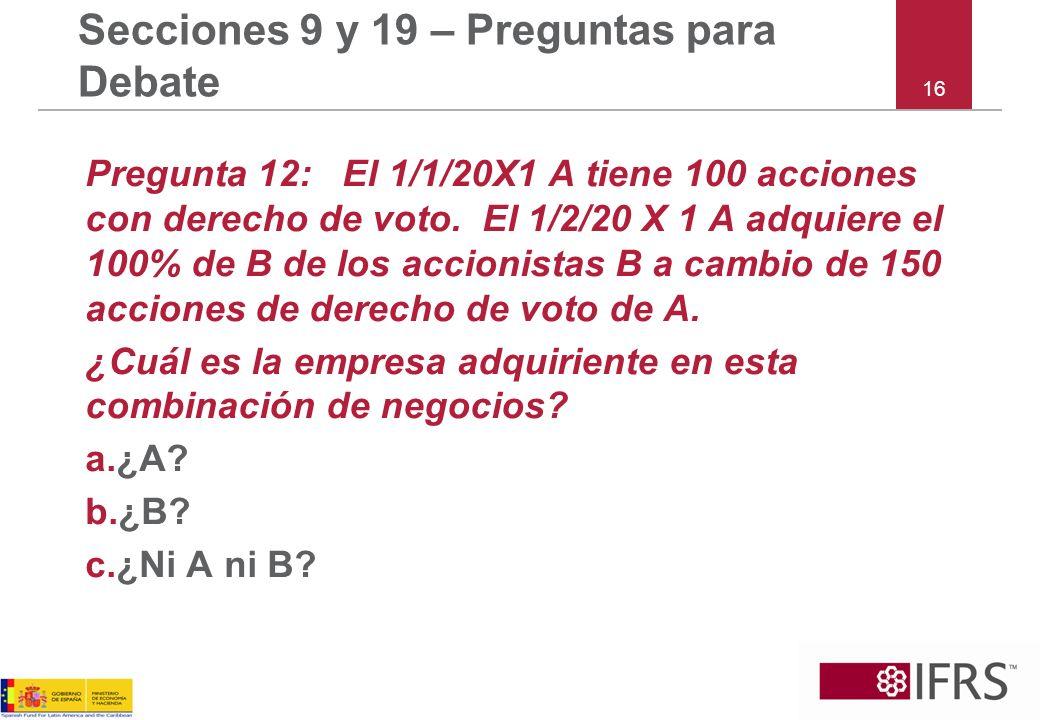 16 Secciones 9 y 19 – Preguntas para Debate Pregunta 12: El 1/1/20X1 A tiene 100 acciones con derecho de voto.