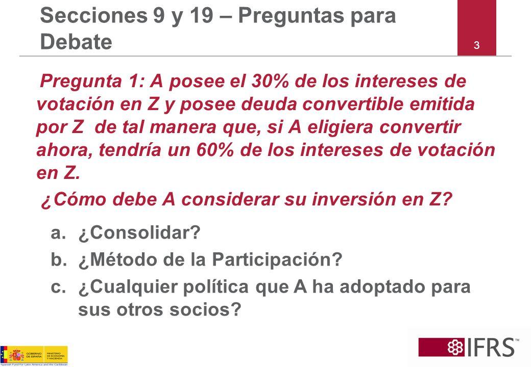 3 Secciones 9 y 19 – Preguntas para Debate Pregunta 1: A posee el 30% de los intereses de votación en Z y posee deuda convertible emitida por Z de tal manera que, si A eligiera convertir ahora, tendría un 60% de los intereses de votación en Z.