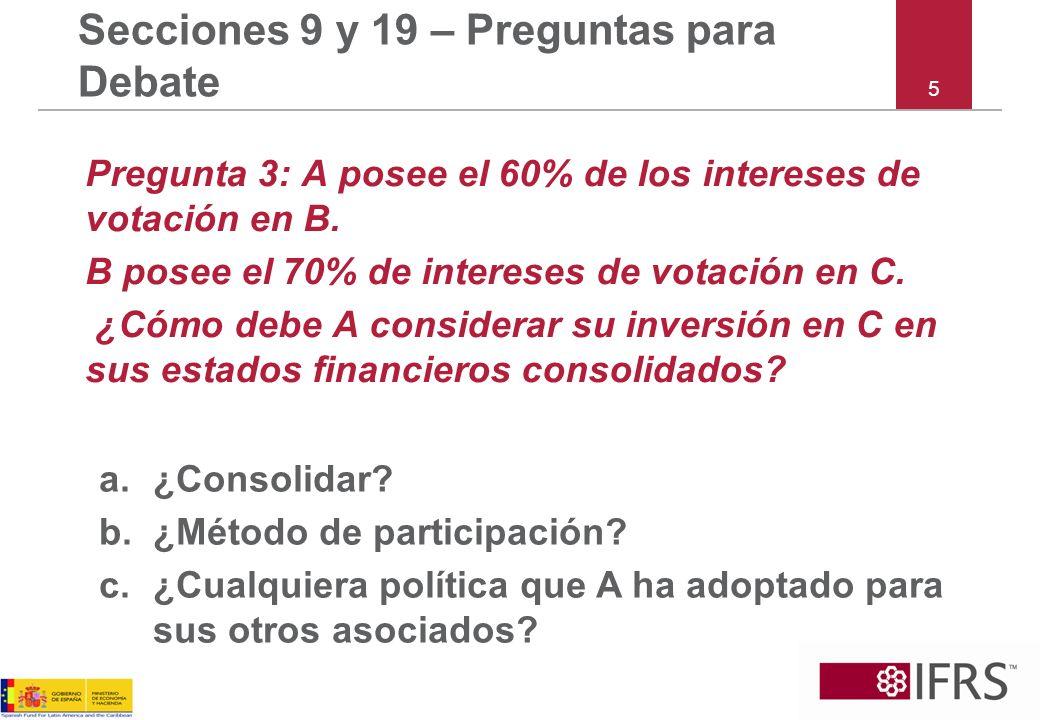 5 Secciones 9 y 19 – Preguntas para Debate Pregunta 3: A posee el 60% de los intereses de votación en B.