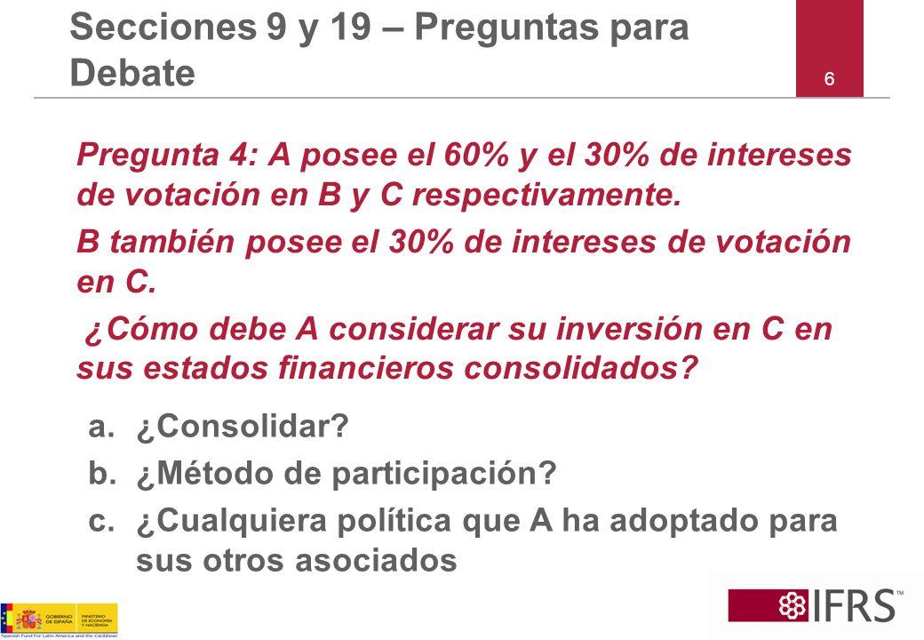6 Secciones 9 y 19 – Preguntas para Debate Pregunta 4: A posee el 60% y el 30% de intereses de votación en B y C respectivamente.