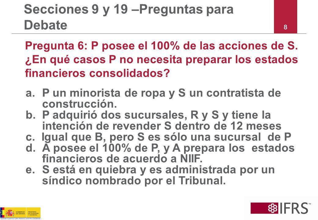 9 Secciones 9 y 19 – Preguntas para Debate Pregunta 7: P compra el 60% de S por 100.