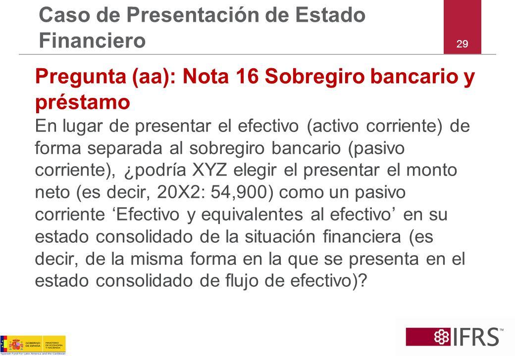 29 Caso de Presentación de Estado Financiero Pregunta (aa): Nota 16 Sobregiro bancario y préstamo En lugar de presentar el efectivo (activo corriente)
