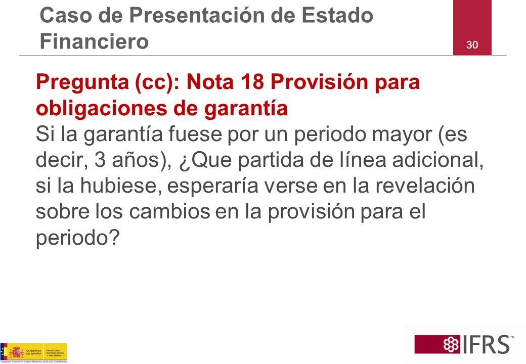 30 Caso de Presentación de Estado Financiero Pregunta (cc): Nota 18 Provisión para obligaciones de garantía Si la garantía fuese por un periodo mayor