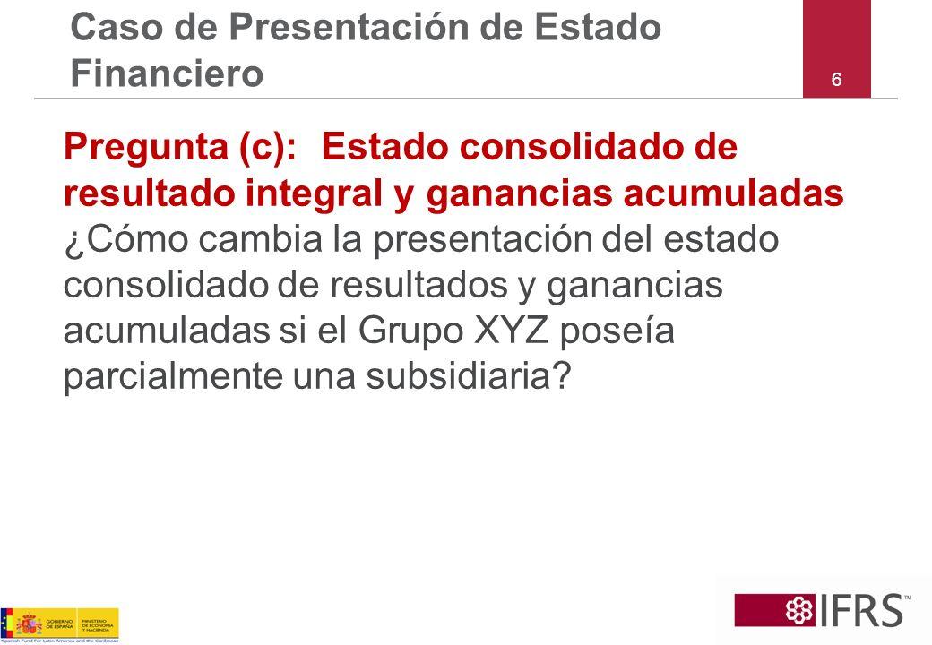 6 Caso de Presentación de Estado Financiero Pregunta (c):Estado consolidado de resultado integral y ganancias acumuladas ¿Cómo cambia la presentación