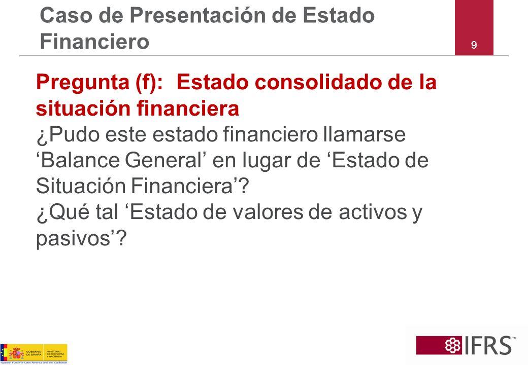 9 Caso de Presentación de Estado Financiero Pregunta (f): Estado consolidado de la situación financiera ¿Pudo este estado financiero llamarse Balance