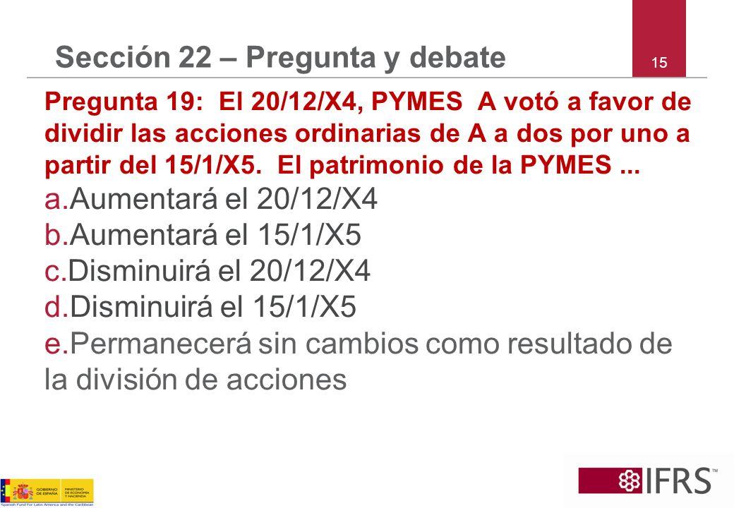 15 Sección 22 – Pregunta y debate Pregunta 19: El 20/12/X4, PYMES A votó a favor de dividir las acciones ordinarias de A a dos por uno a partir del 15/1/X5.