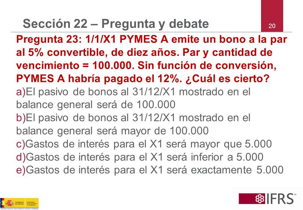 20 Sección 22 – Pregunta y debate Pregunta 23: 1/1/X1 PYMES A emite un bono a la par al 5% convertible, de diez años.