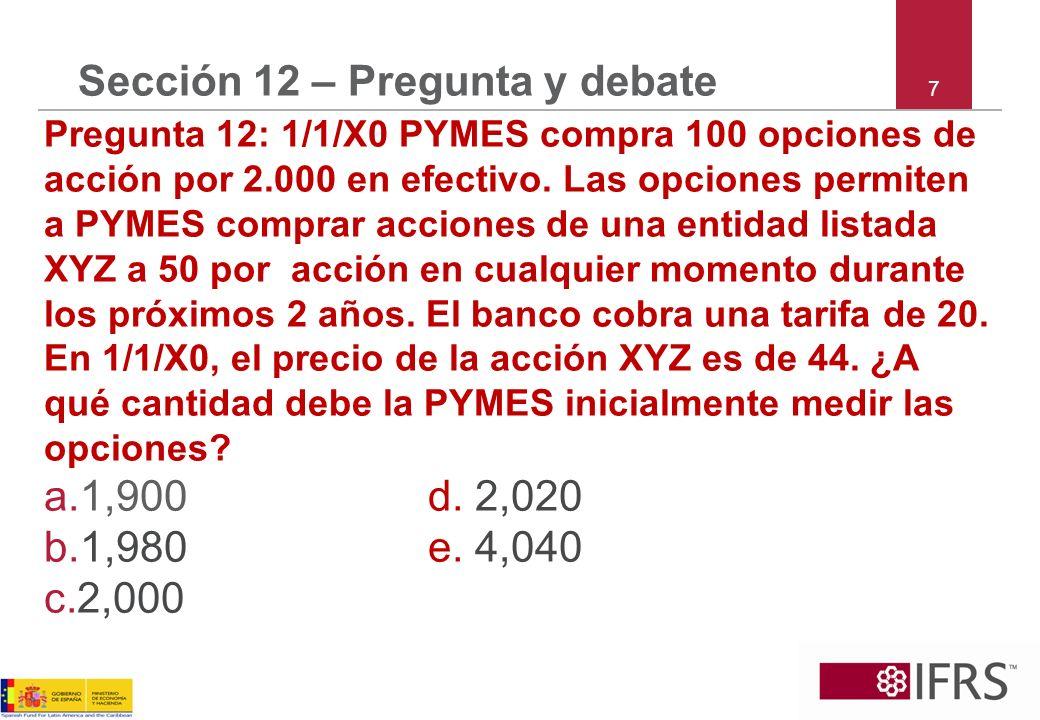 7 Sección 12 – Pregunta y debate Pregunta 12: 1/1/X0 PYMES compra 100 opciones de acción por 2.000 en efectivo.