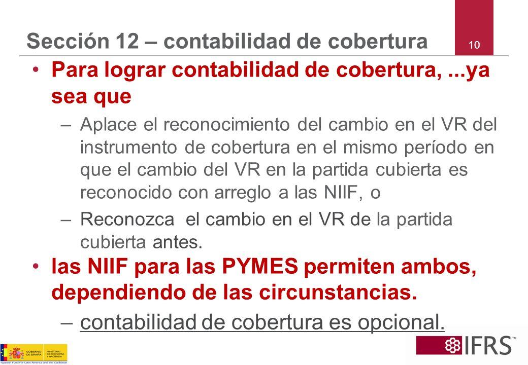 10 Sección 12 – contabilidad de cobertura Para lograr contabilidad de cobertura,...ya sea que –Aplace el reconocimiento del cambio en el VR del instru