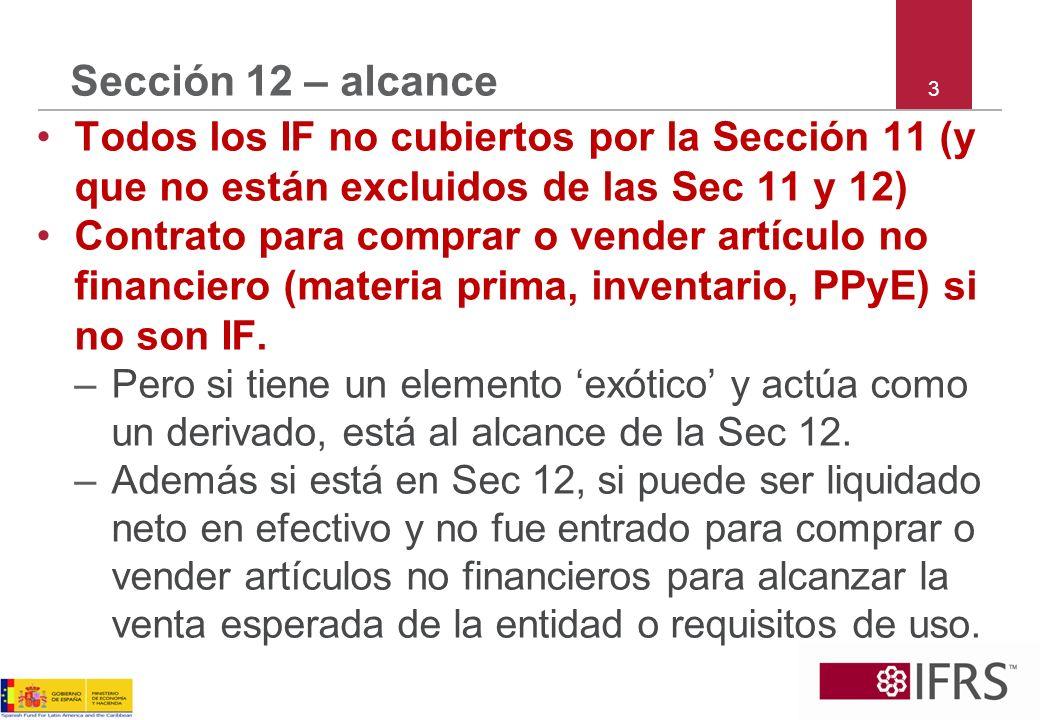 3 Sección 12 – alcance Todos los IF no cubiertos por la Sección 11 (y que no están excluidos de las Sec 11 y 12) Contrato para comprar o vender artícu