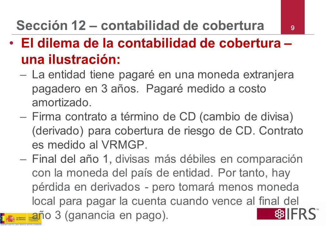 9 Sección 12 – contabilidad de cobertura El dilema de la contabilidad de cobertura – una ilustración: –La entidad tiene pagaré en una moneda extranjer