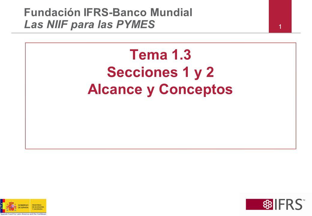 Normas Guía de aplicación para dar efecto a los principios Opciones de política contable Excepciones Principios Estructura de NIIF para PYMESS 12 Conceptos (Sección 2)