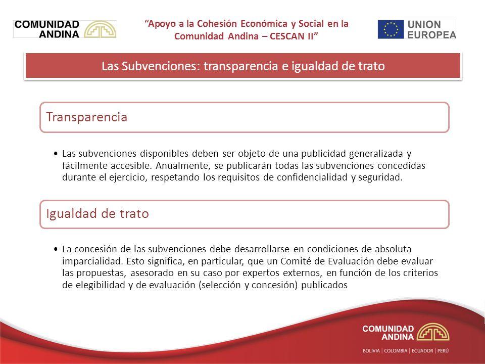 Las Subvenciones: transparencia e igualdad de trato Transparencia Las subvenciones disponibles deben ser objeto de una publicidad generalizada y fácilmente accesible.