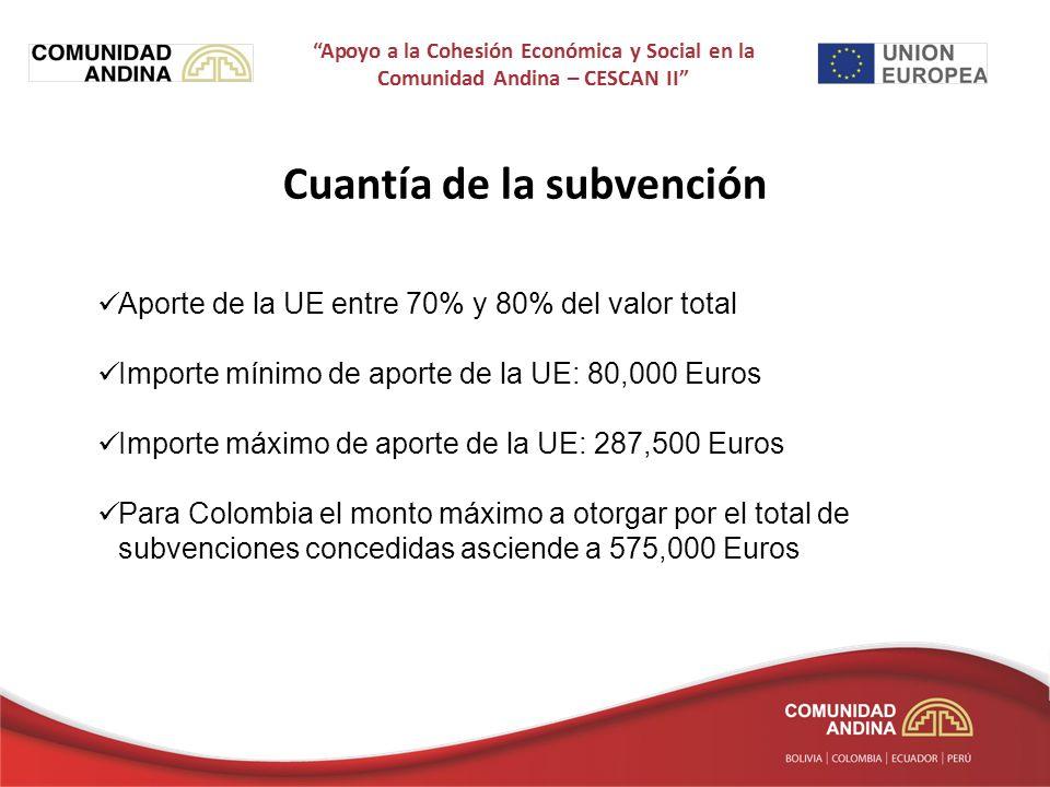 Cuantía de la subvención Aporte de la UE entre 70% y 80% del valor total Importe mínimo de aporte de la UE: 80,000 Euros Importe máximo de aporte de la UE: 287,500 Euros Para Colombia el monto máximo a otorgar por el total de subvenciones concedidas asciende a 575,000 Euros