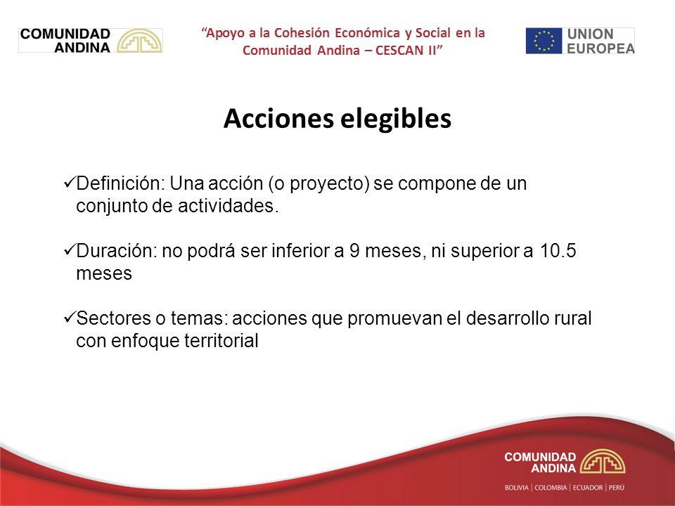 Acciones elegibles Definición: Una acción (o proyecto) se compone de un conjunto de actividades.
