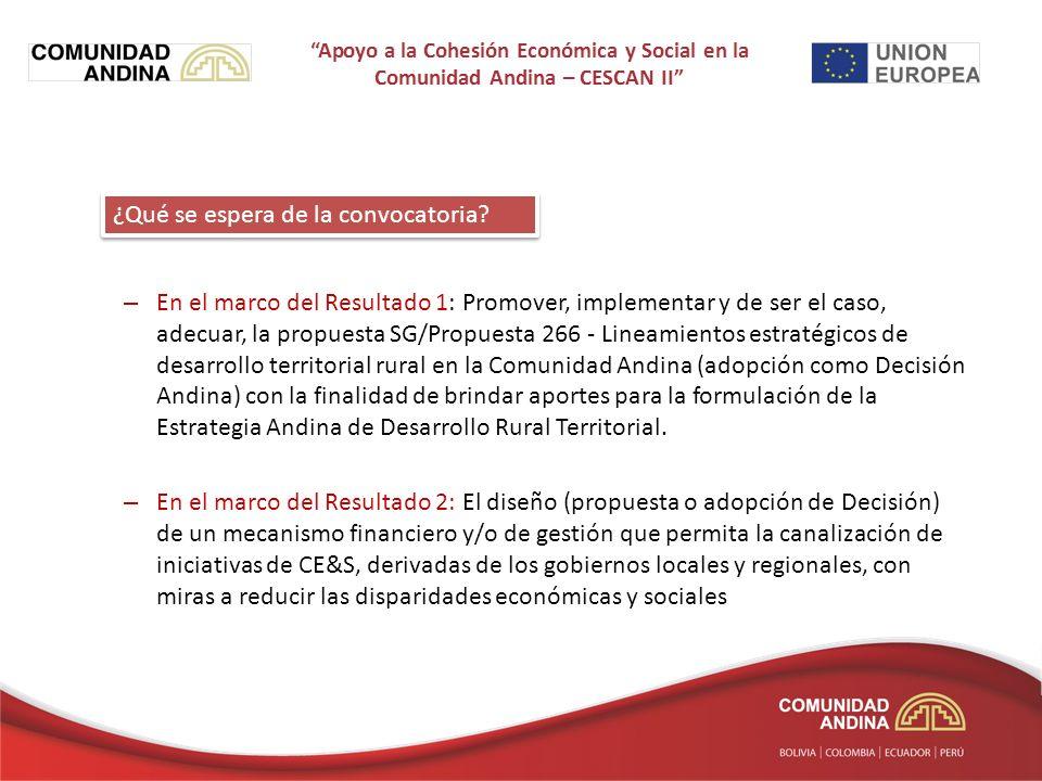 – En el marco del Resultado 1: Promover, implementar y de ser el caso, adecuar, la propuesta SG/Propuesta 266 - Lineamientos estratégicos de desarrollo territorial rural en la Comunidad Andina (adopción como Decisión Andina) con la finalidad de brindar aportes para la formulación de la Estrategia Andina de Desarrollo Rural Territorial.