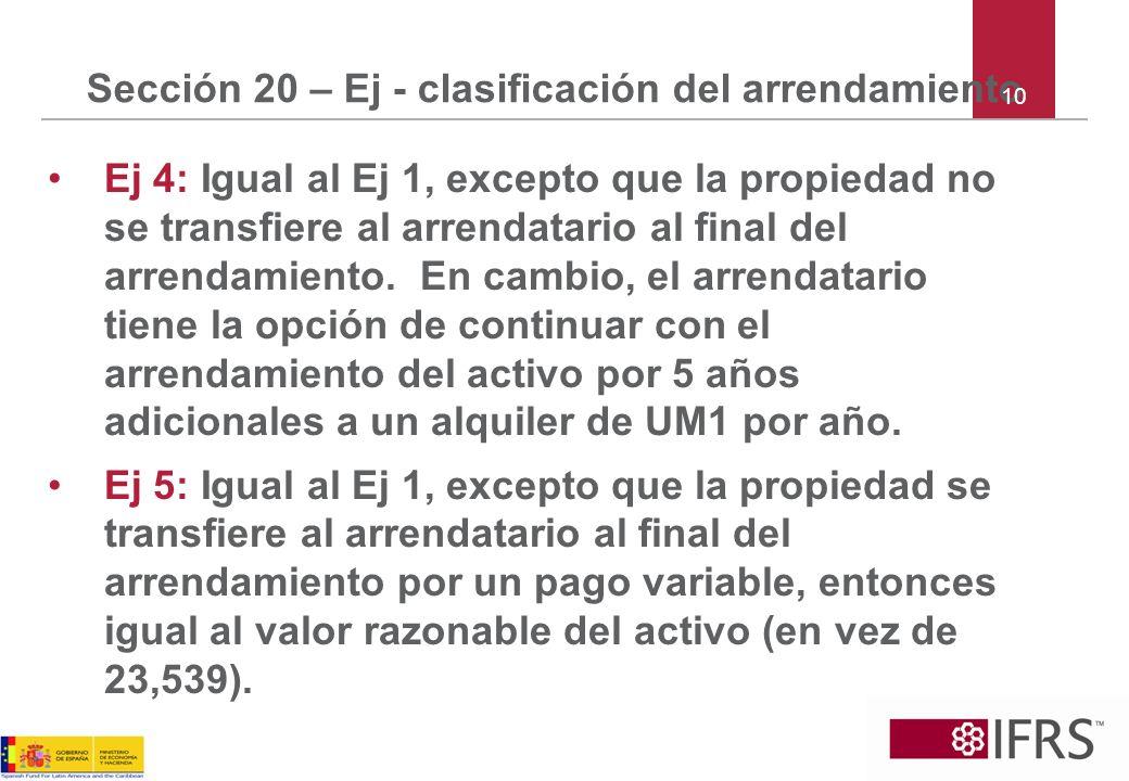 Sección 20 – Ej - clasificación del arrendamiento Ej 4: Igual al Ej 1, excepto que la propiedad no se transfiere al arrendatario al final del arrendam