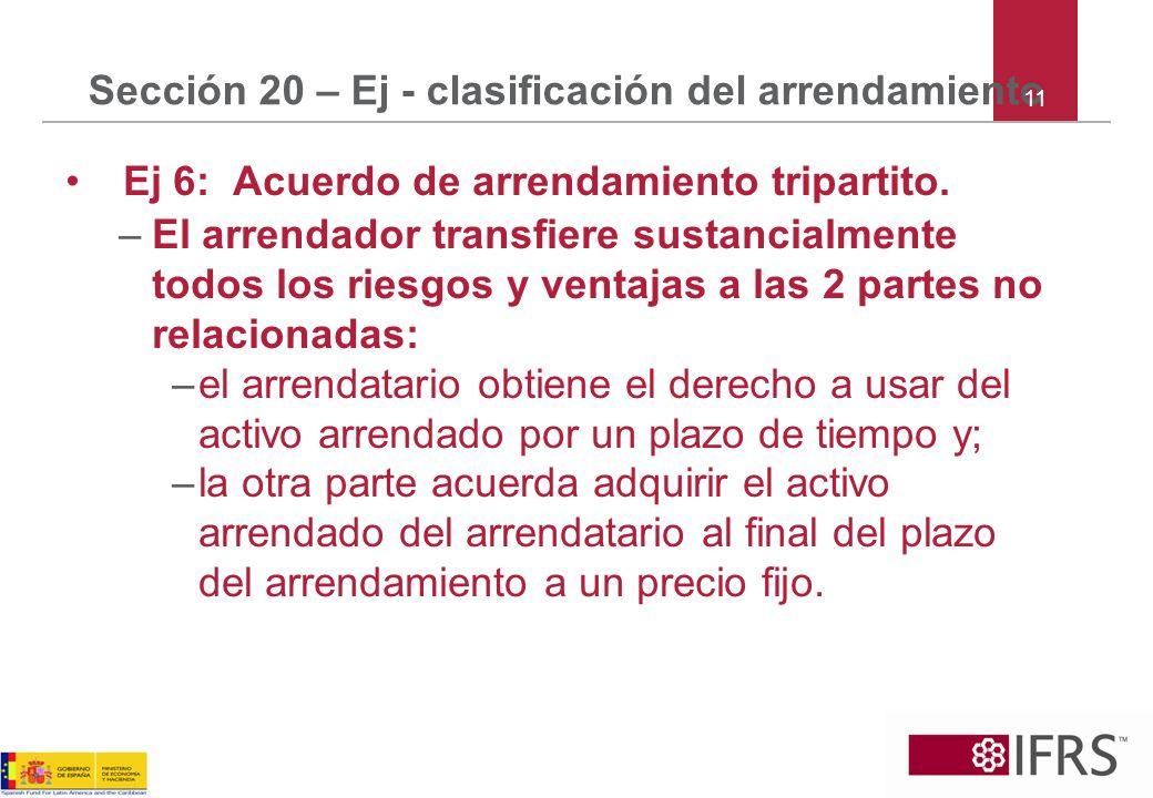 Sección 20 – Ej - clasificación del arrendamiento Ej 6: Acuerdo de arrendamiento tripartito. –El arrendador transfiere sustancialmente todos los riesg