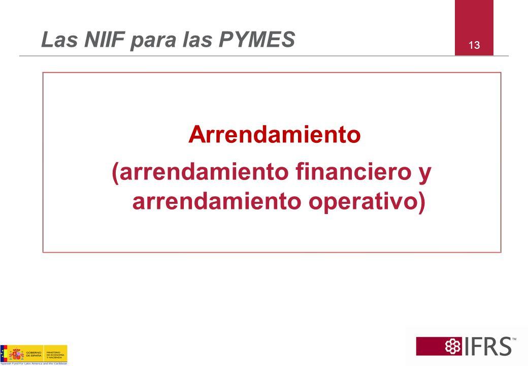 13 Las NIIF para las PYMES Arrendamiento (arrendamiento financiero y arrendamiento operativo)