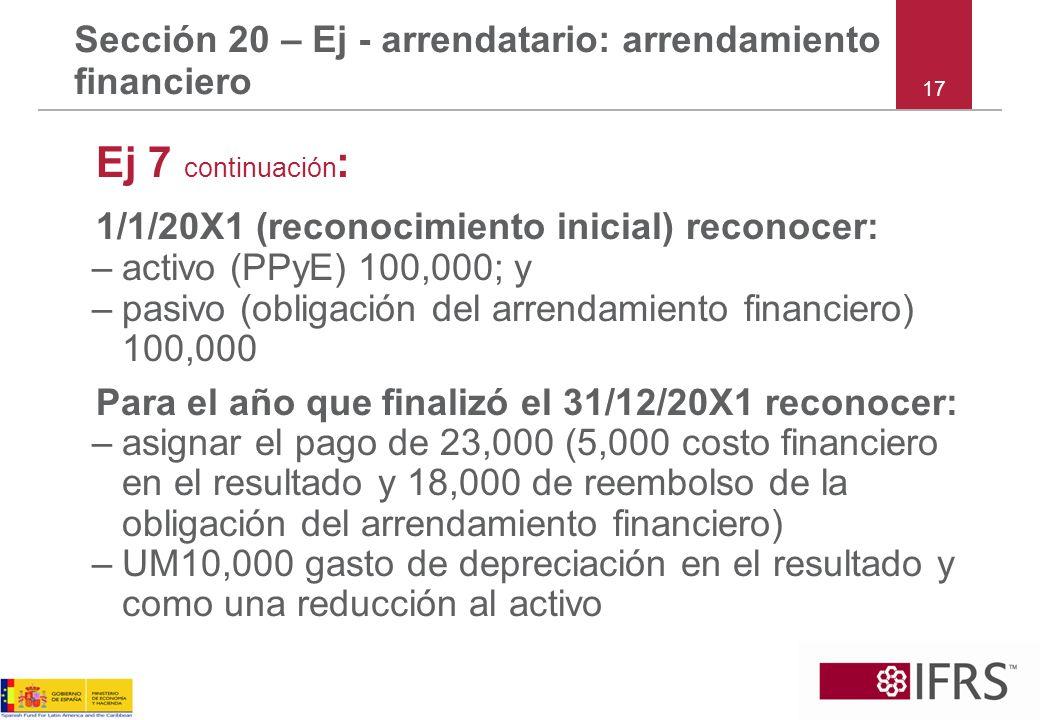 Sección 20 – Ej - arrendatario: arrendamiento financiero Ej 7 continuación : 1/1/20X1 (reconocimiento inicial) reconocer: –activo (PPyE) 100,000; y –p