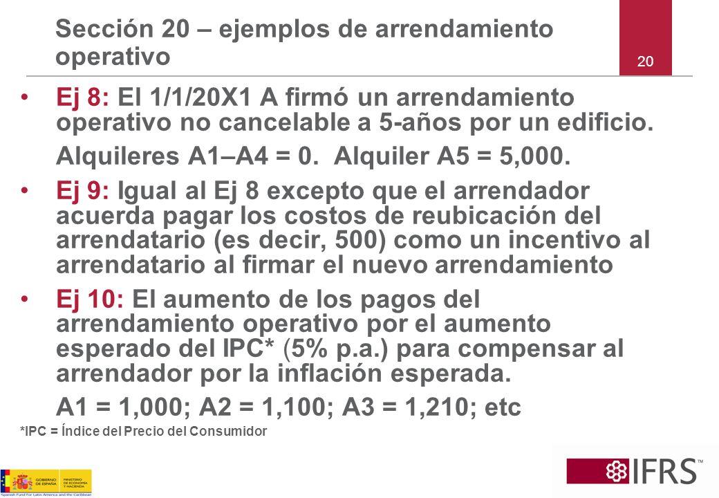 Sección 20 – ejemplos de arrendamiento operativo Ej 8: El 1/1/20X1 A firmó un arrendamiento operativo no cancelable a 5-años por un edificio. Alquiler