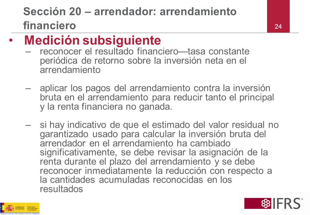 24 Sección 20 – arrendador: arrendamiento financiero Medición subsiguiente –reconocer el resultado financierotasa constante periódica de retorno sobre