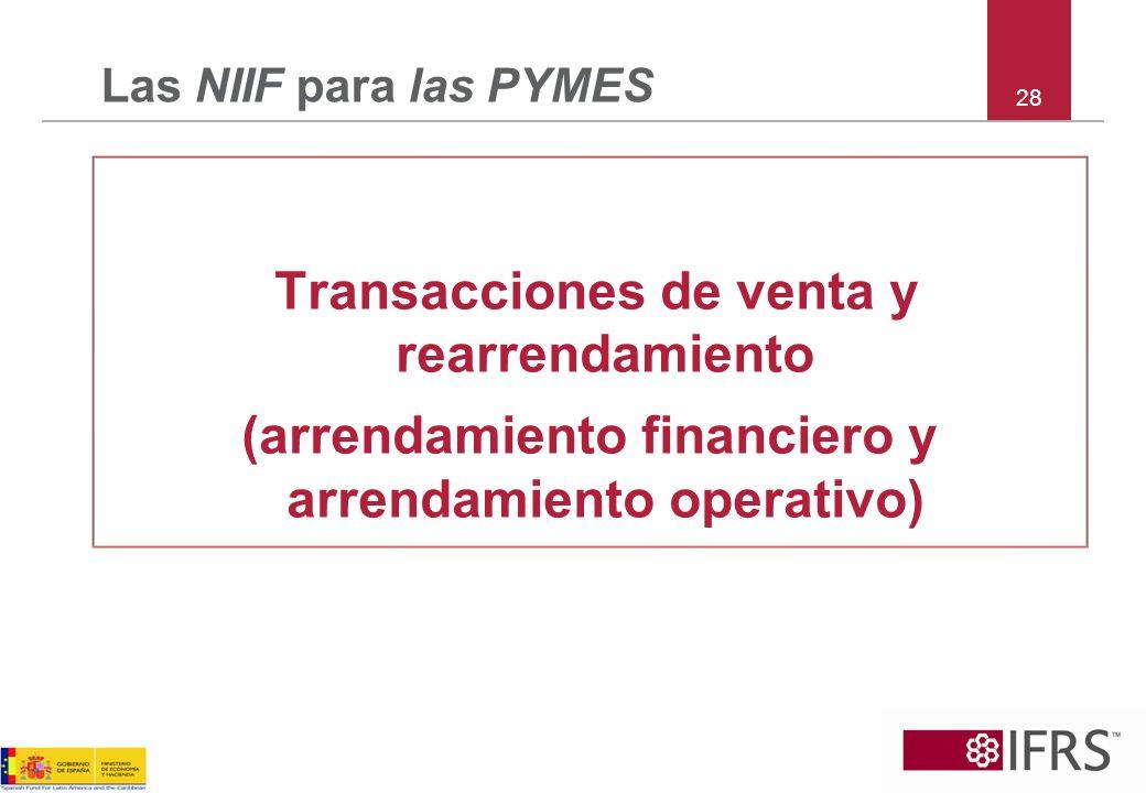 28 Las NIIF para las PYMES Transacciones de venta y rearrendamiento (arrendamiento financiero y arrendamiento operativo)