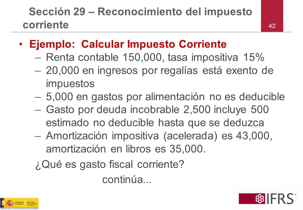 42 Sección 29 – Reconocimiento del impuesto corriente Ejemplo: Calcular Impuesto Corriente –Renta contable 150,000, tasa impositiva 15% –20,000 en ing