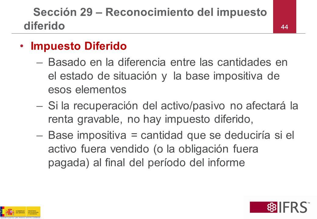 44 Sección 29 – Reconocimiento del impuesto diferido Impuesto Diferido –Basado en la diferencia entre las cantidades en el estado de situación y la ba