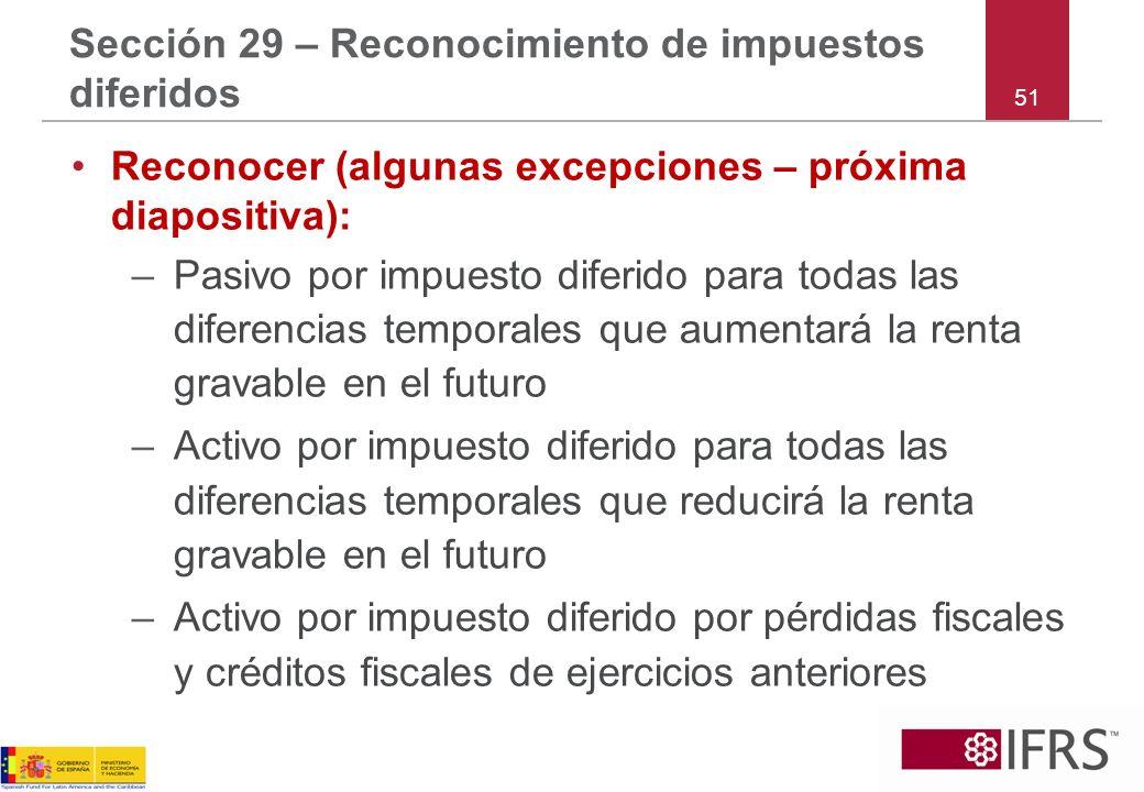 51 Sección 29 – Reconocimiento de impuestos diferidos Reconocer (algunas excepciones – próxima diapositiva): –Pasivo por impuesto diferido para todas