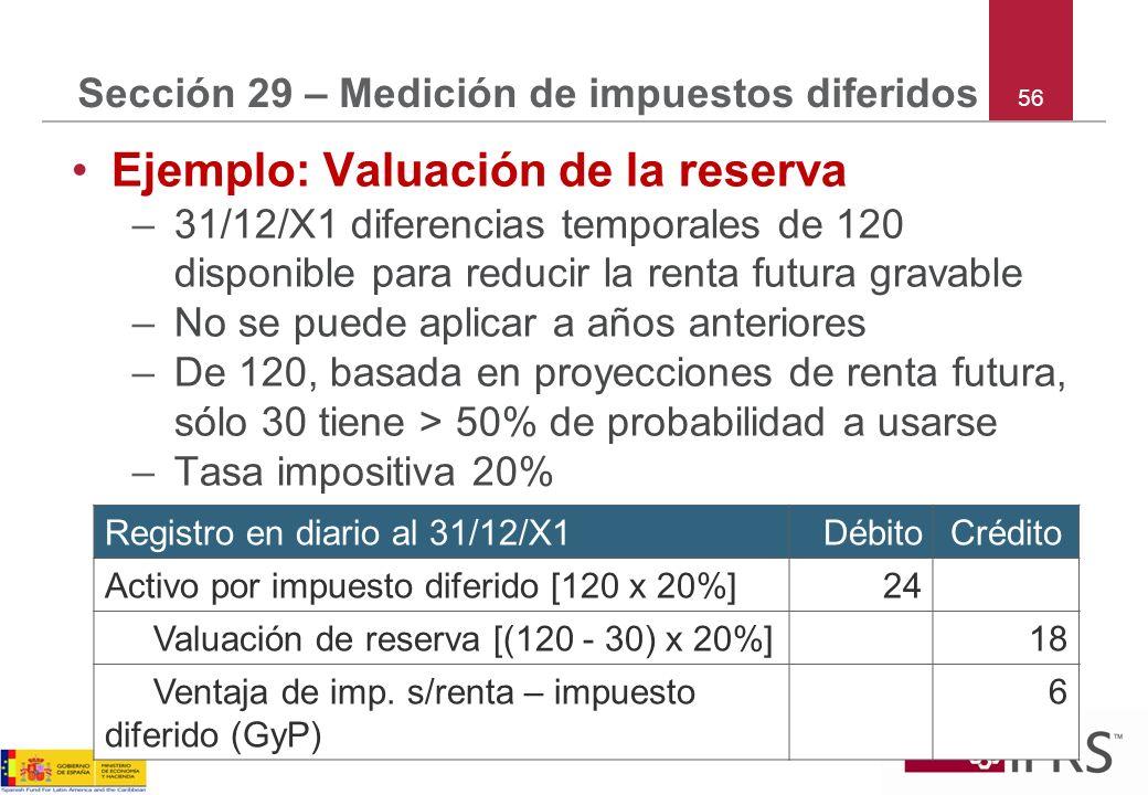 56 Sección 29 – Medición de impuestos diferidos Ejemplo: Valuación de la reserva –31/12/X1 diferencias temporales de 120 disponible para reducir la re