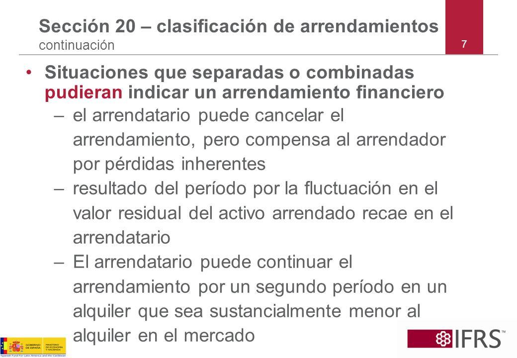 7 Sección 20 – clasificación de arrendamientos continuación Situaciones que separadas o combinadas pudieran indicar un arrendamiento financiero –el ar