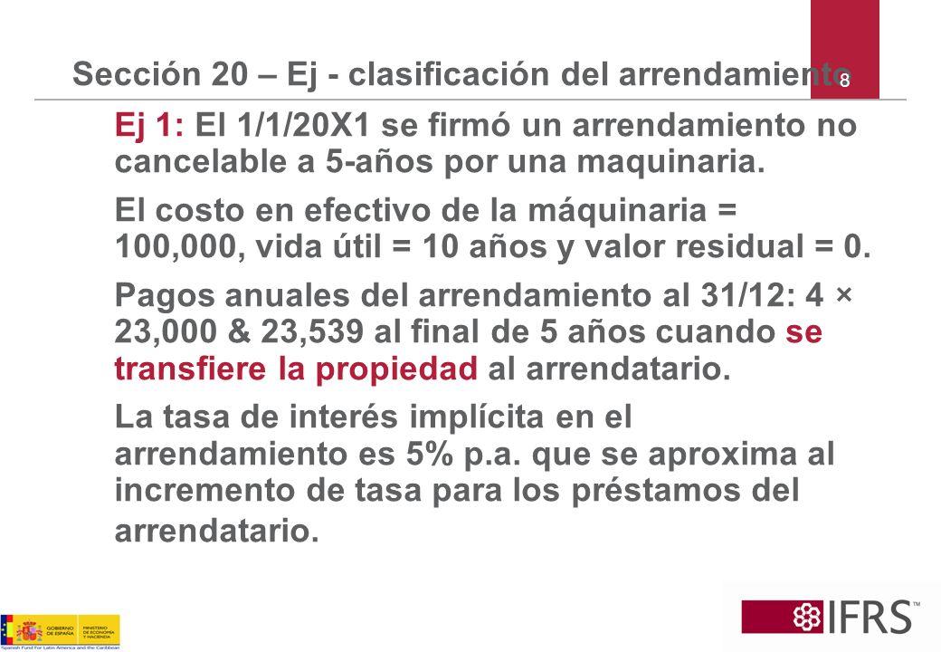 Sección 20 – Ej - clasificación del arrendamiento Ej 1: El 1/1/20X1 se firmó un arrendamiento no cancelable a 5-años por una maquinaria. El costo en e