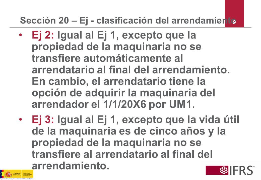 Sección 20 – Ej - clasificación del arrendamiento Ej 4: Igual al Ej 1, excepto que la propiedad no se transfiere al arrendatario al final del arrendamiento.