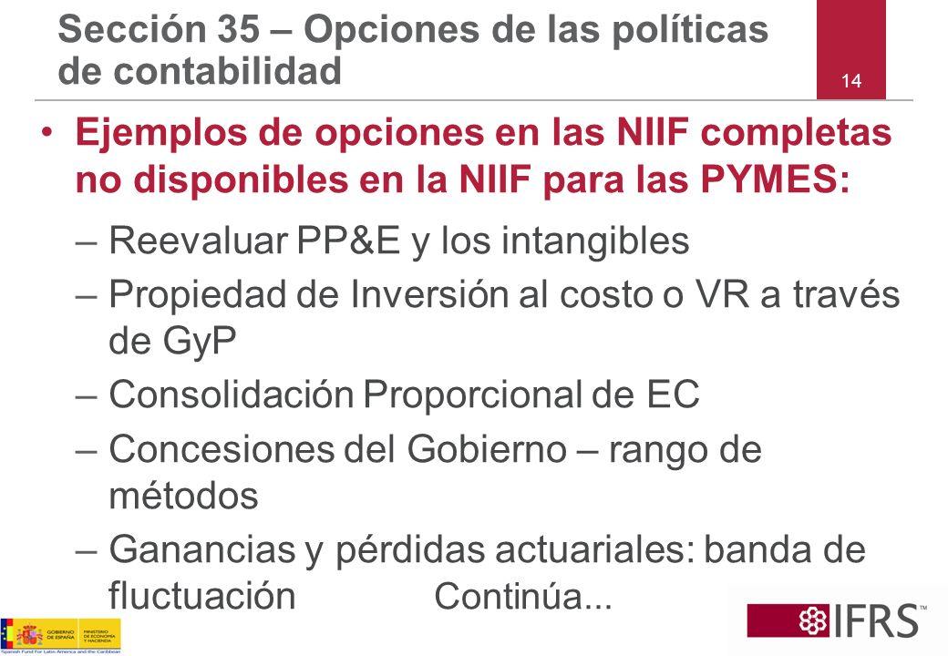14 Sección 35 – Opciones de las políticas de contabilidad Ejemplos de opciones en las NIIF completas no disponibles en la NIIF para las PYMES: –Reeval