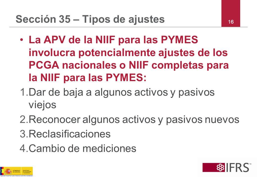 16 Sección 35 – Tipos de ajustes La APV de la NIIF para las PYMES involucra potencialmente ajustes de los PCGA nacionales o NIIF completas para la NII