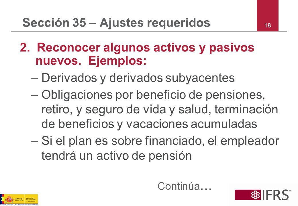 Sección 35 – Ajustes requeridos 2. Reconocer algunos activos y pasivos nuevos. Ejemplos: –Derivados y derivados subyacentes –Obligaciones por benefici