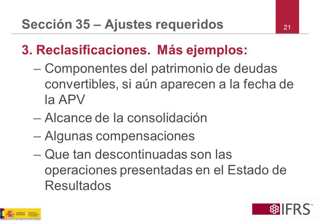 Sección 35 – Ajustes requeridos 3. Reclasificaciones. Más ejemplos: –Componentes del patrimonio de deudas convertibles, si aún aparecen a la fecha de