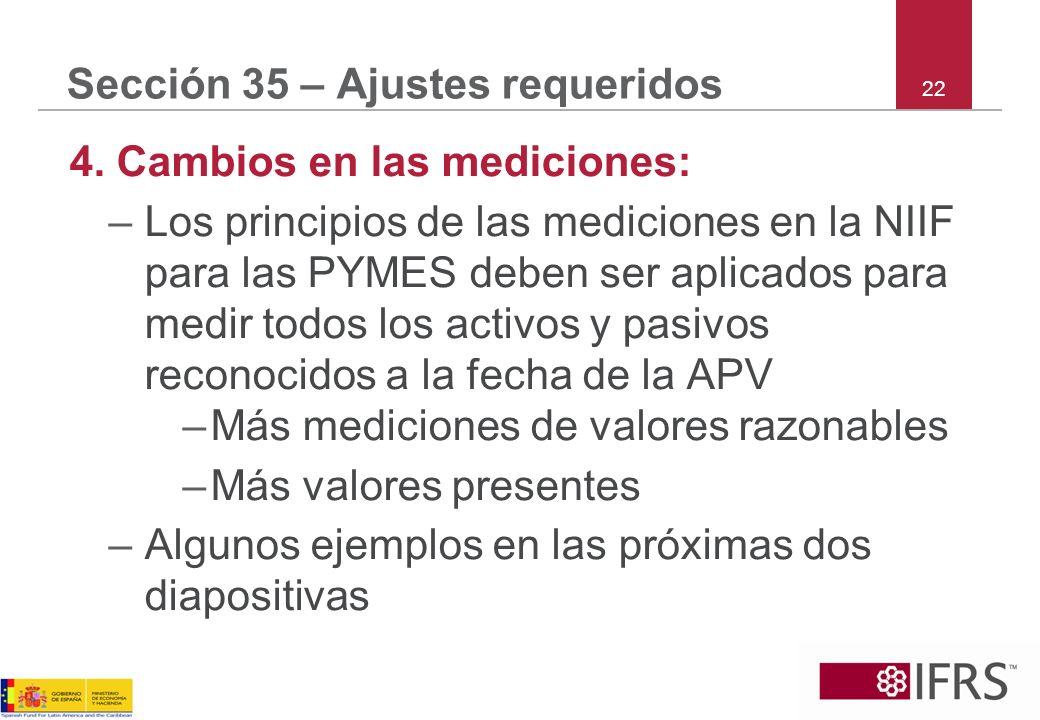 Sección 35 – Ajustes requeridos 4. Cambios en las mediciones: –Los principios de las mediciones en la NIIF para las PYMES deben ser aplicados para med