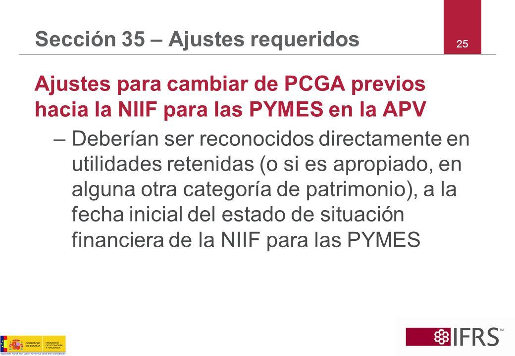 Sección 35 – Ajustes requeridos Ajustes para cambiar de PCGA previos hacia la NIIF para las PYMES en la APV –Deberían ser reconocidos directamente en