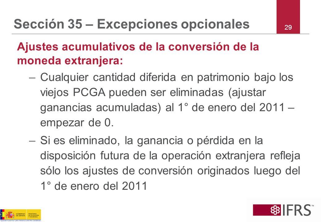 Sección 35 – Excepciones opcionales Ajustes acumulativos de la conversión de la moneda extranjera: –Cualquier cantidad diferida en patrimonio bajo los