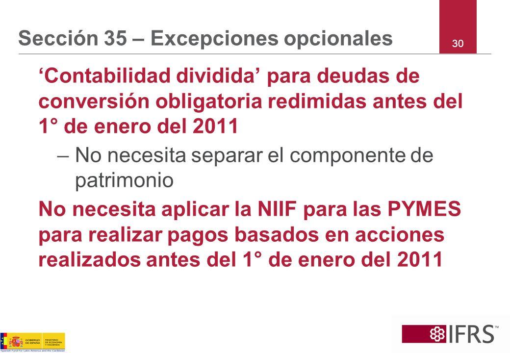Sección 35 – Excepciones opcionales Contabilidad dividida para deudas de conversión obligatoria redimidas antes del 1° de enero del 2011 –No necesita