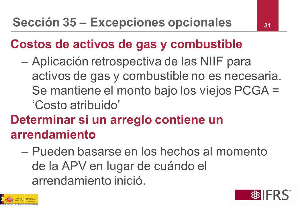 Sección 35 – Excepciones opcionales Costos de activos de gas y combustible –Aplicación retrospectiva de las NIIF para activos de gas y combustible no