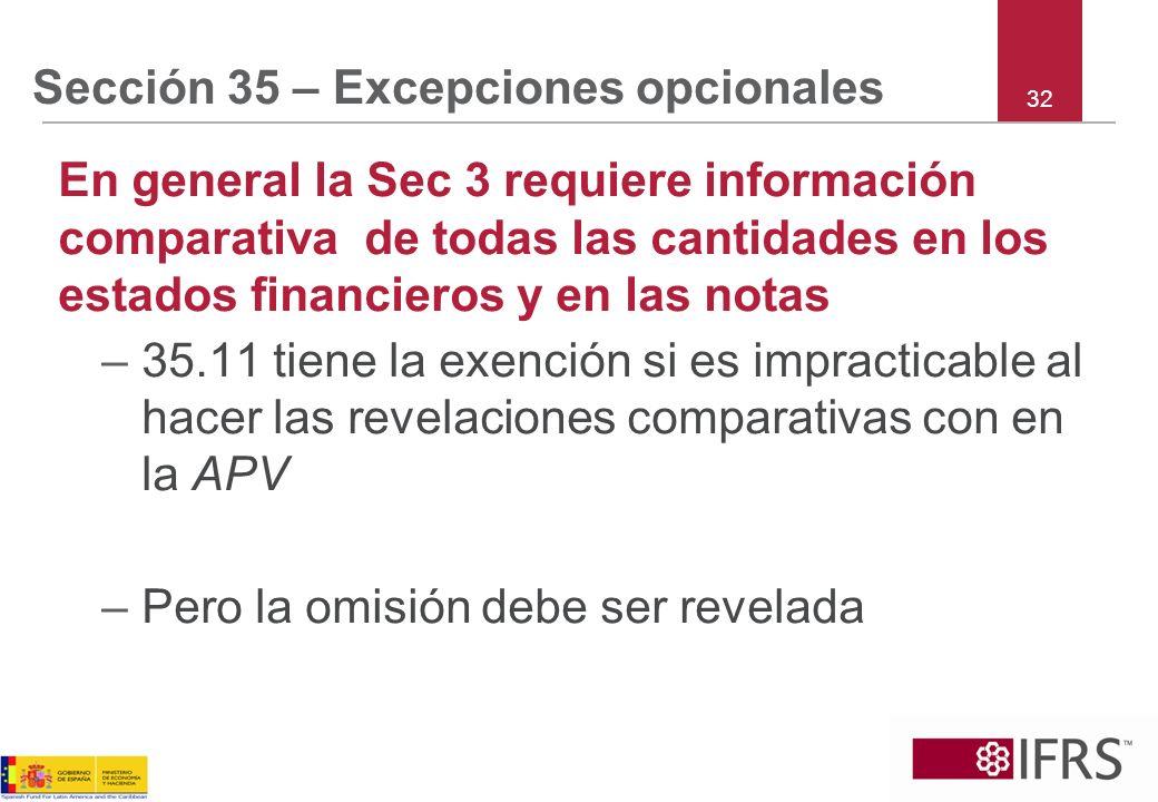 Sección 35 – Excepciones opcionales En general la Sec 3 requiere información comparativa de todas las cantidades en los estados financieros y en las n