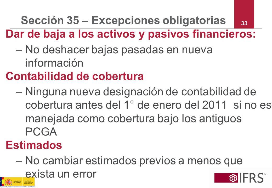 Sección 35 – Excepciones obligatorias Dar de baja a los activos y pasivos financieros: –No deshacer bajas pasadas en nueva información Contabilidad de