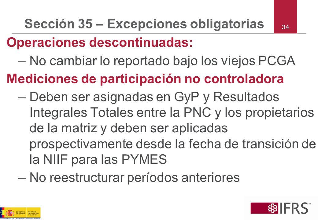Sección 35 – Excepciones obligatorias Operaciones descontinuadas: –No cambiar lo reportado bajo los viejos PCGA Mediciones de participación no control