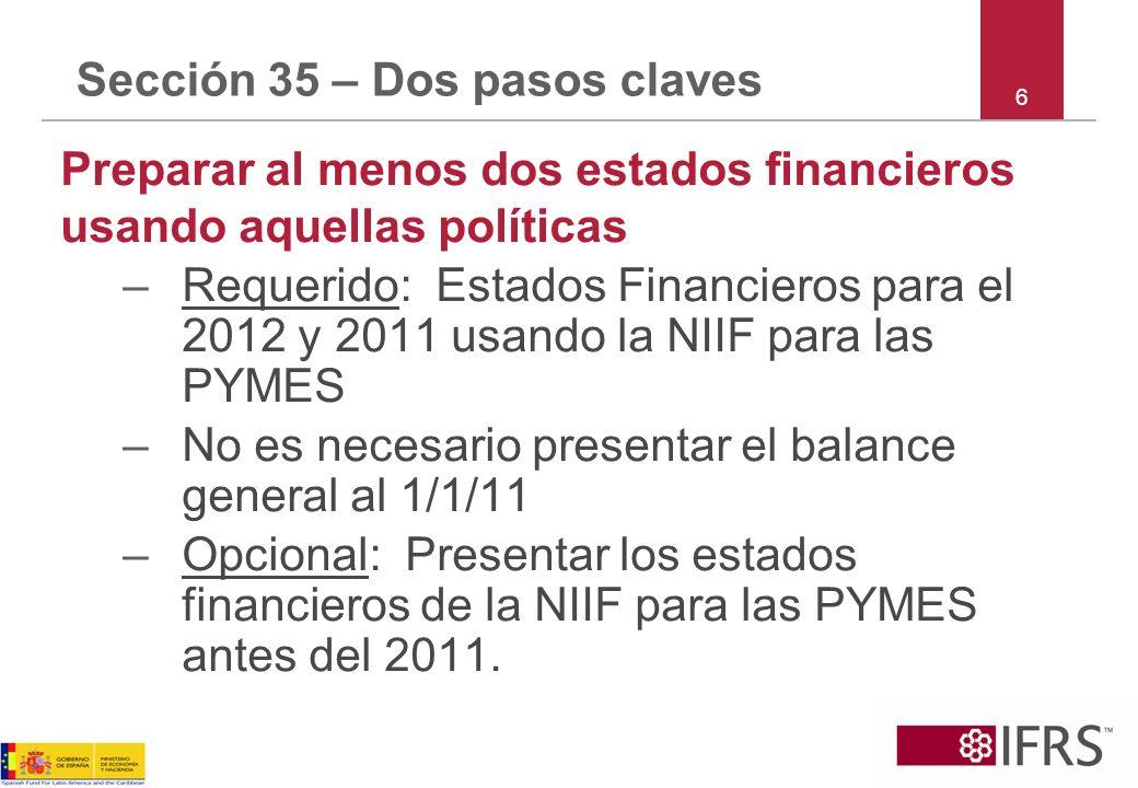 Sección 35 – Dos pasos claves Preparar al menos dos estados financieros usando aquellas políticas –Requerido: Estados Financieros para el 2012 y 2011