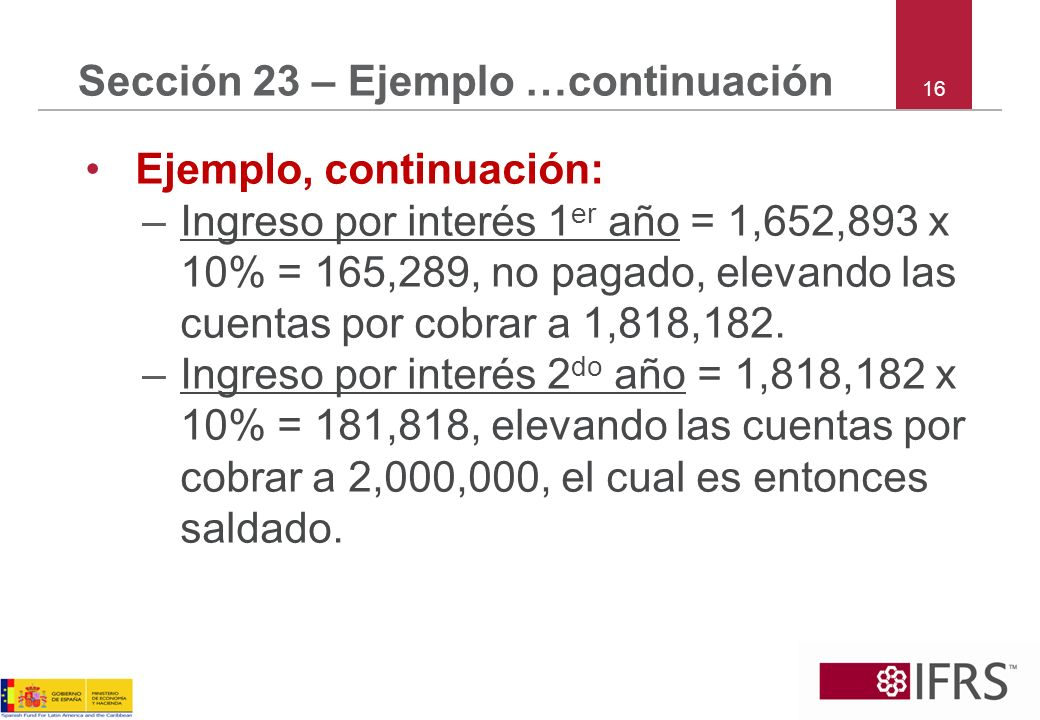 16 Sección 23 – Ejemplo …continuación Ejemplo, continuación: –Ingreso por interés 1 er año = 1,652,893 x 10% = 165,289, no pagado, elevando las cuenta