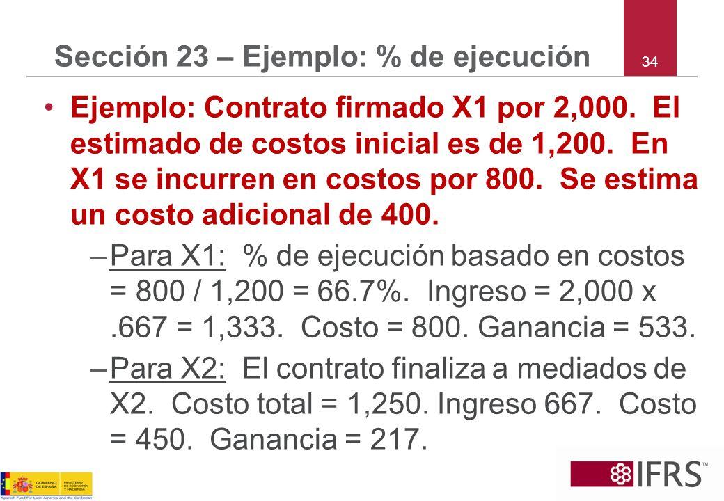34 Sección 23 – Ejemplo: % de ejecución Ejemplo: Contrato firmado X1 por 2,000. El estimado de costos inicial es de 1,200. En X1 se incurren en costos