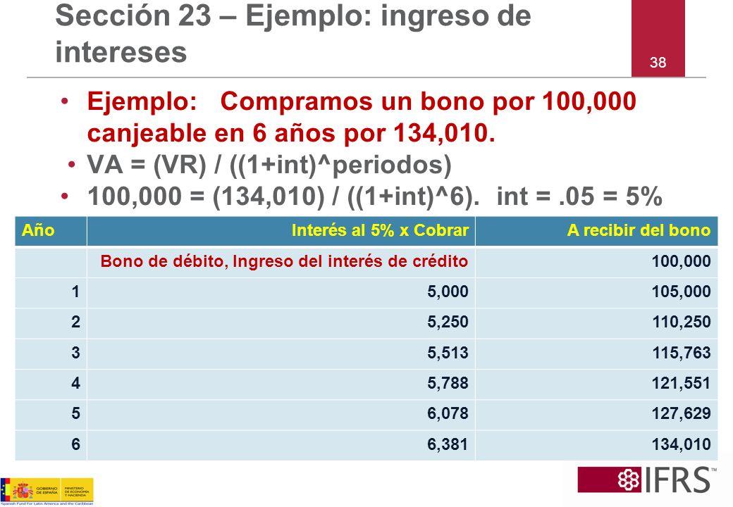 38 Sección 23 – Ejemplo: ingreso de intereses Ejemplo: Compramos un bono por 100,000 canjeable en 6 años por 134,010. VA = (VR) / ((1+int)^periodos) 1